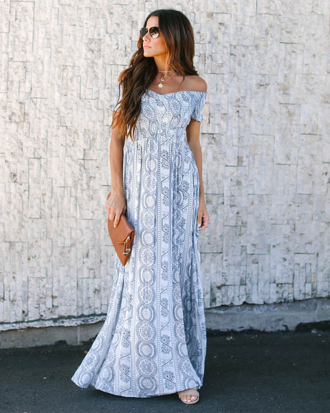 6a254f8ce4 Now + Then Smocked Printed Maxi Dress