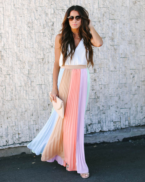 0f2957f6ef409 Carousel Ride Colorblock Pleated Maxi Skirt