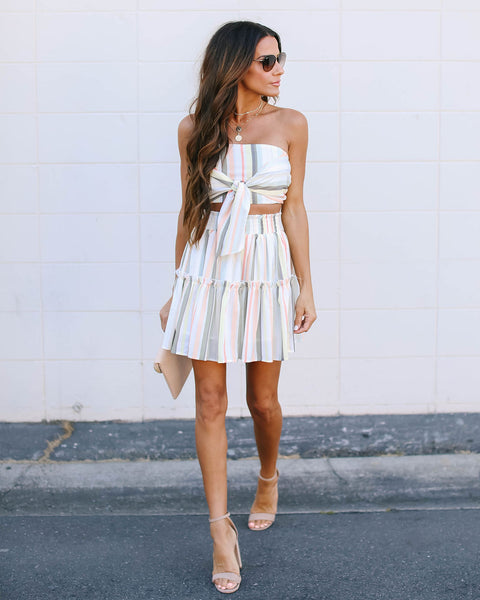 Your Best Life Striped Ruffle Skirt