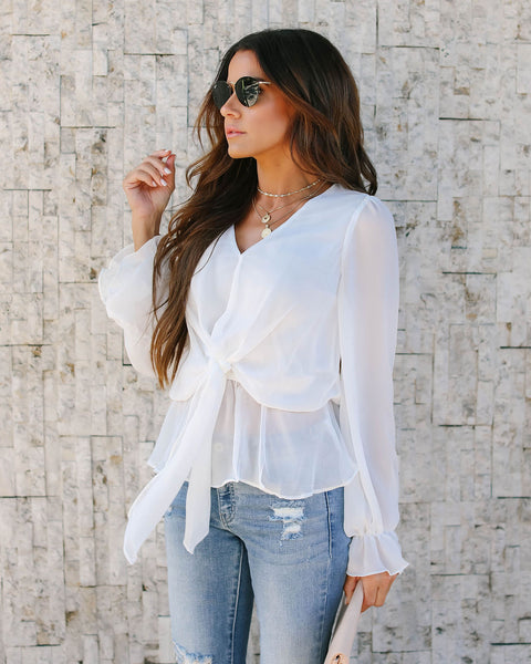 Up Front Tie Blouse