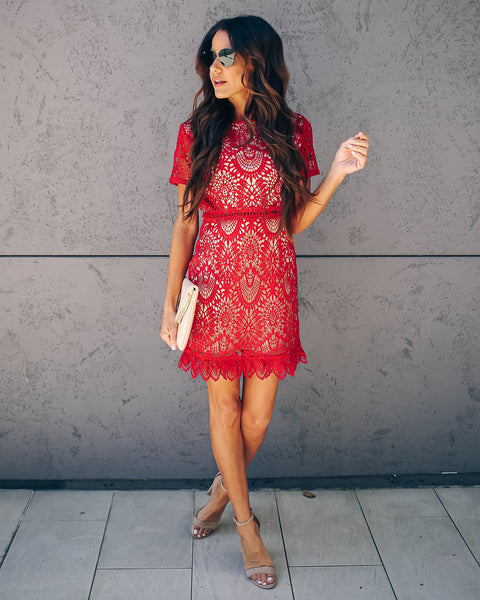 0ae05d02b8a Live Out Loud Crochet Lace Dress - Red