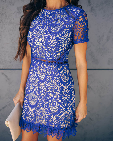 Live Out Loud Crochet Lace Dress - Cobalt - FINAL SALE