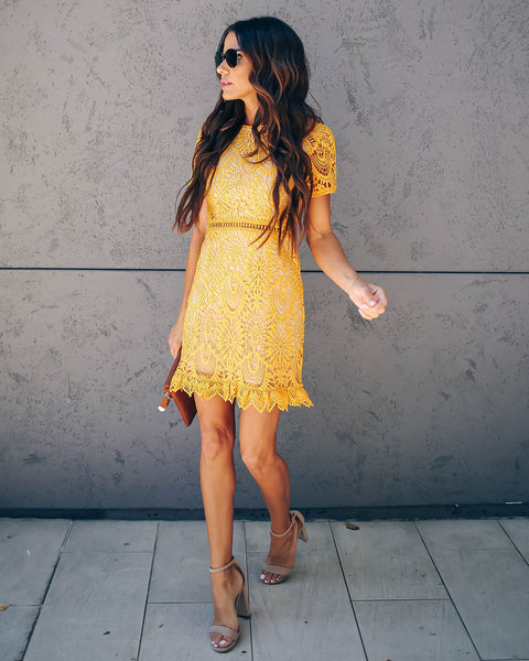 Live Out Loud Crochet Lace Dress - Mustard - FINAL SALE