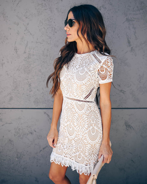3cb54c4ad42 Live Out Loud Crochet Lace Dress - White