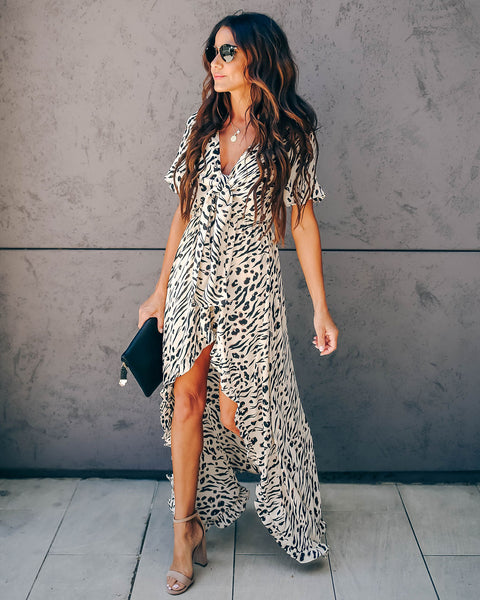 Night At The Museum Tie Front High Low Maxi Dress