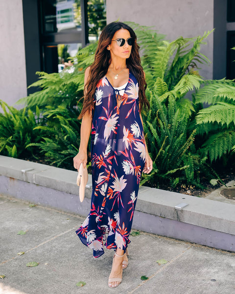 Beneath The Surface Floral Halter Cover-Up Dress - FINAL SALE