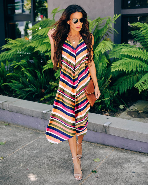 Your True Colors Striped Halter Dress