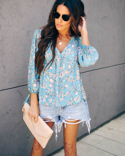 Heart + Soul Tassel Tie Blouse - Blue