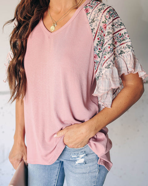 Vintage Vision Floral Ruffle Contrast Top - Pink
