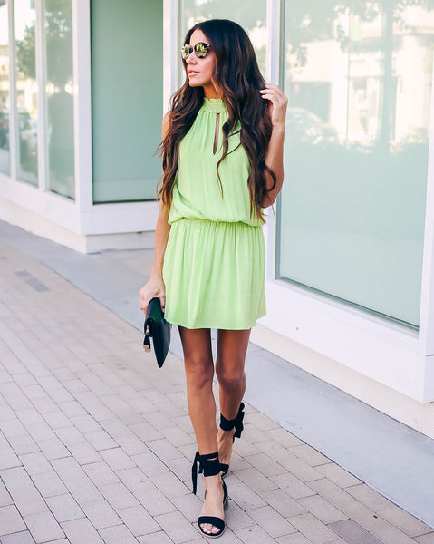 No Promises Smocked Dress - Neon Green
