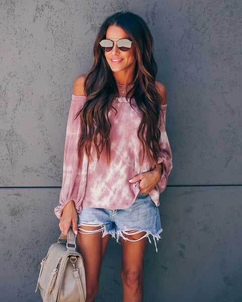 Skye Off The Shoulder Tie Dye Thermal Top