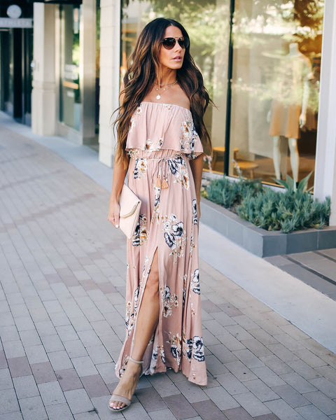 Huckleberry Floral Strapless Tie Maxi Dress