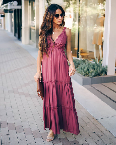 Full Of Beauty Tiered Maxi Dress - Mauve - FINAL SALE