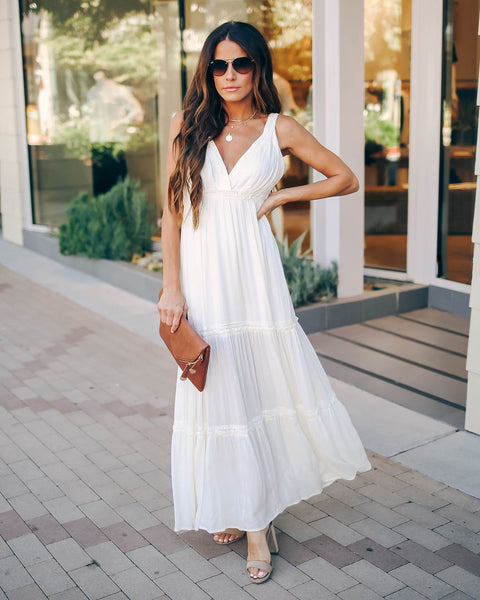 Full Of Beauty Tiered Maxi Dress - Ivory - FINAL SALE