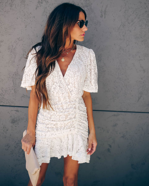 Mirror Of My Soul Ruched Lace Dress