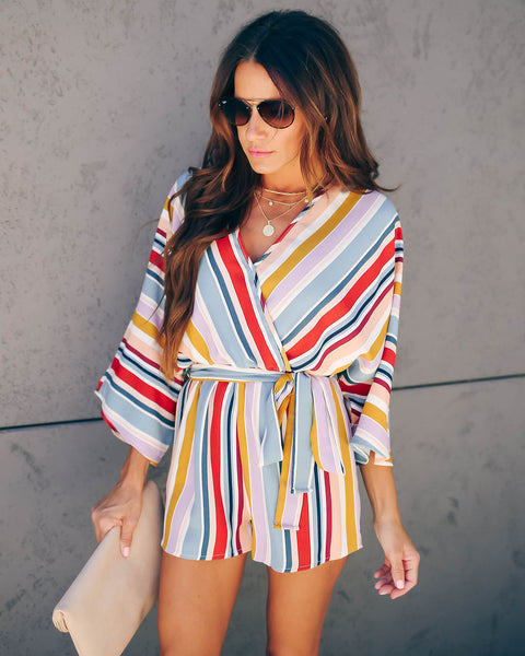 You Got It Striped Kimono Romper