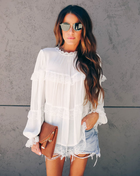 Figueroa Lace Tiered Peasant Blouse