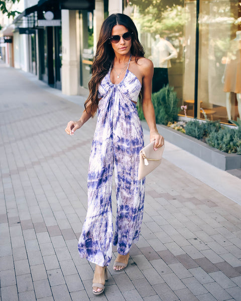 Can't Wait Tie Dye Halter Jumpsuit