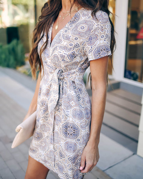 Graphic Design Printed Wrap Dress