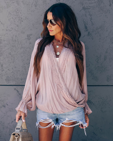 Gypsy Queen Crochet Draped Blouse - Blush