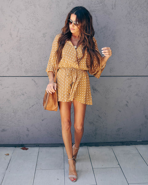 Hazie Tassel Swing Romper - Mustard - FINAL SALE