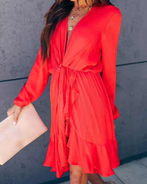 Hot Tamale Tie Front Ruffle Dress