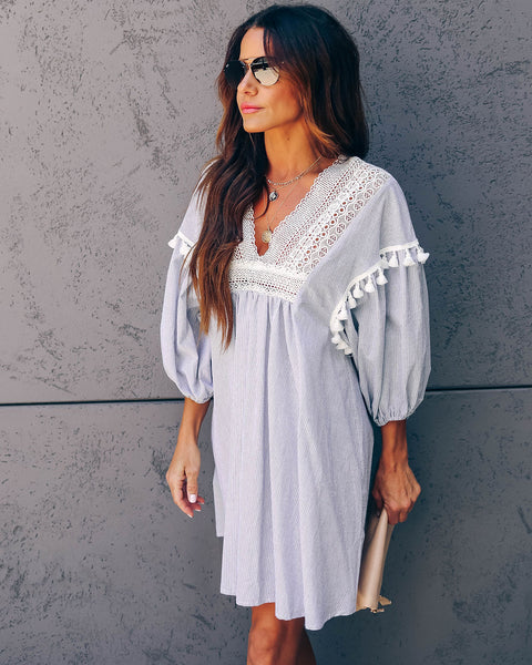 Anguilla Cotton Crochet Tassel Dress