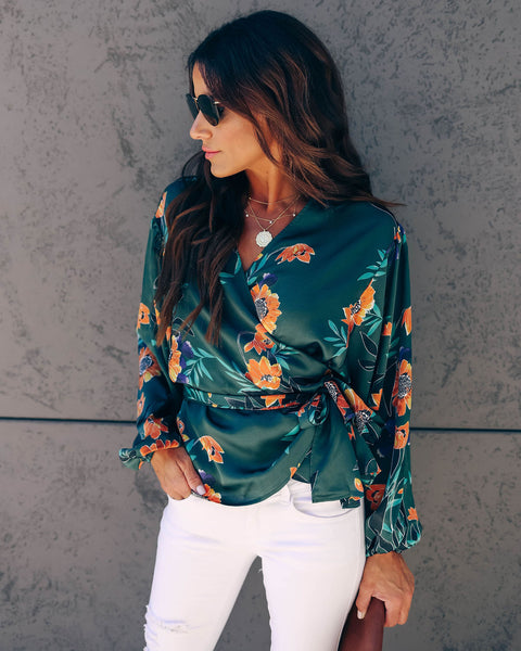 The Teal Deal Satin Floral Wrap Blouse