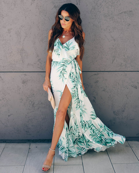 Where Waves Break Palm Wrap Maxi Dress - FINAL SALE