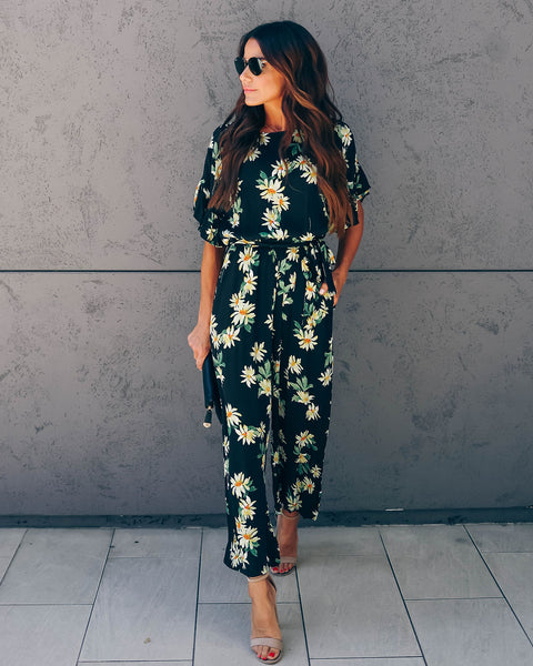 Relentless Floral Pocketed Jumpsuit