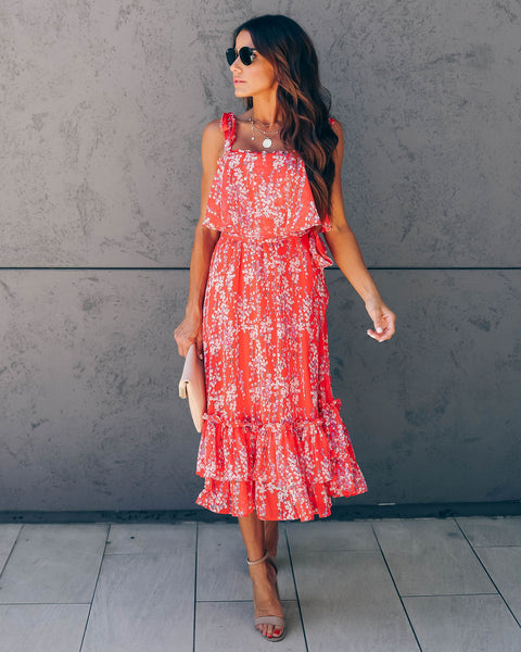 Shaken Not Stirred Floral Tie Midi Dress - Red