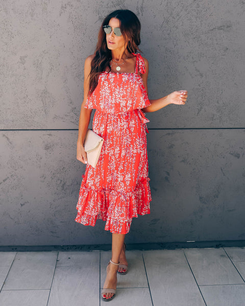 Shaken Not Stirred Floral Tie Midi Dress - Red - FINAL SALE