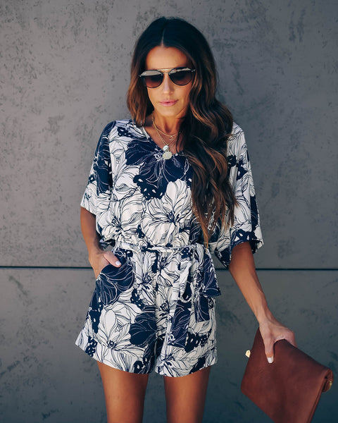 Boxwood Floral Pocketed Tie Romper - Navy - FINAL SALE