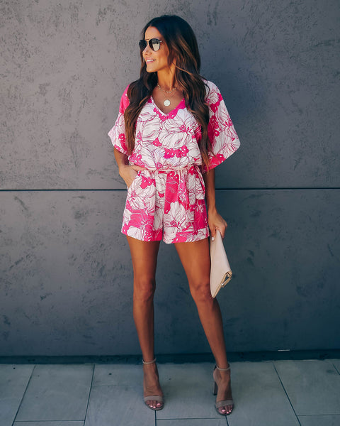 Boxwood Floral Pocketed Tie Romper - Pink - FINAL SALE