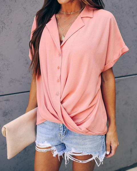 Road To Success Button Down Drape Blouse - Coral