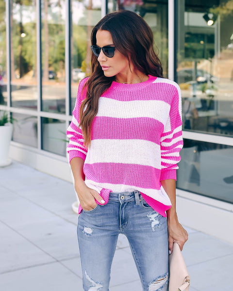 Sour Strip Light Knit Sweater - Neon Pink