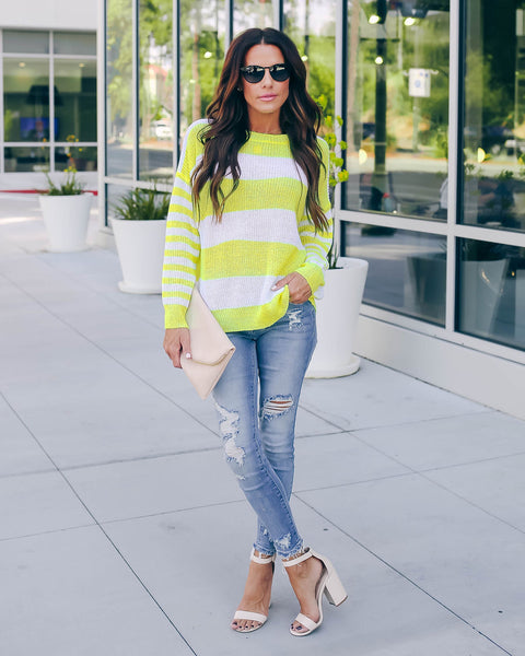 Sour Strip Light Knit Sweater - Neon Yellow  - FINAL SALE
