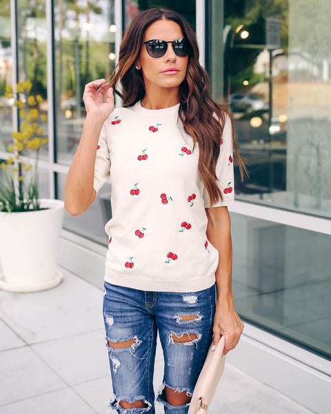 Cherry On Top Embroidered Short Sleeve Sweater