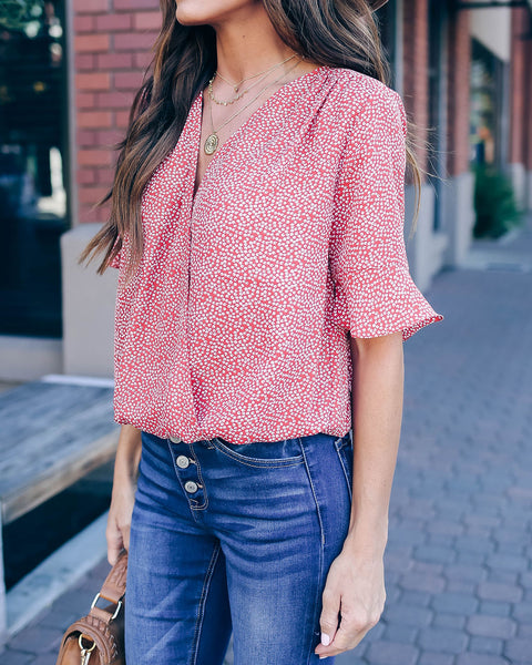 Nourish Printed Drape Blouse - FINAL SALE