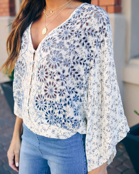 The Hills Are Alive Eyelet Kimono Top - Blue - FINAL SALE