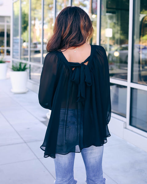 Heartbeat Chiffon Blouse - Black - FINAL SALE