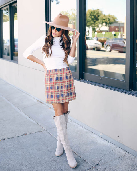 Before The Thunder Plaid Mini Skirt - FINAL SALE