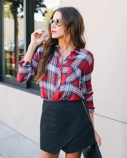 Channel The Flannel Plaid Button Down Blouse - FINAL SALE