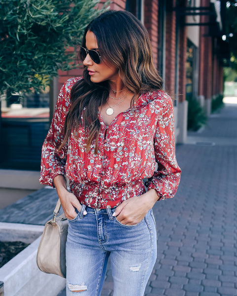 Reuben Button Down Shimmer Blouse - FINAL SALE