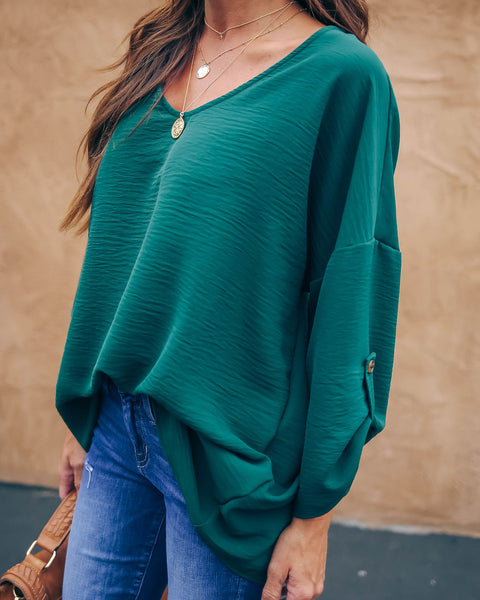 On Melrose Blouse - Hunter Green - FINAL SALE