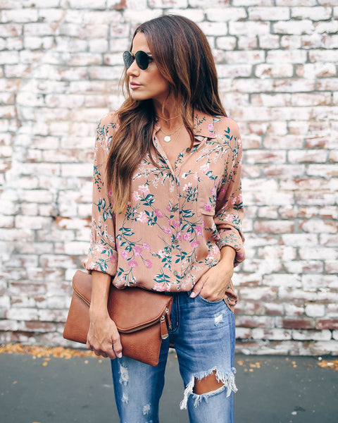 Brought To Life Floral Button Down Blouse - FINAL SALE