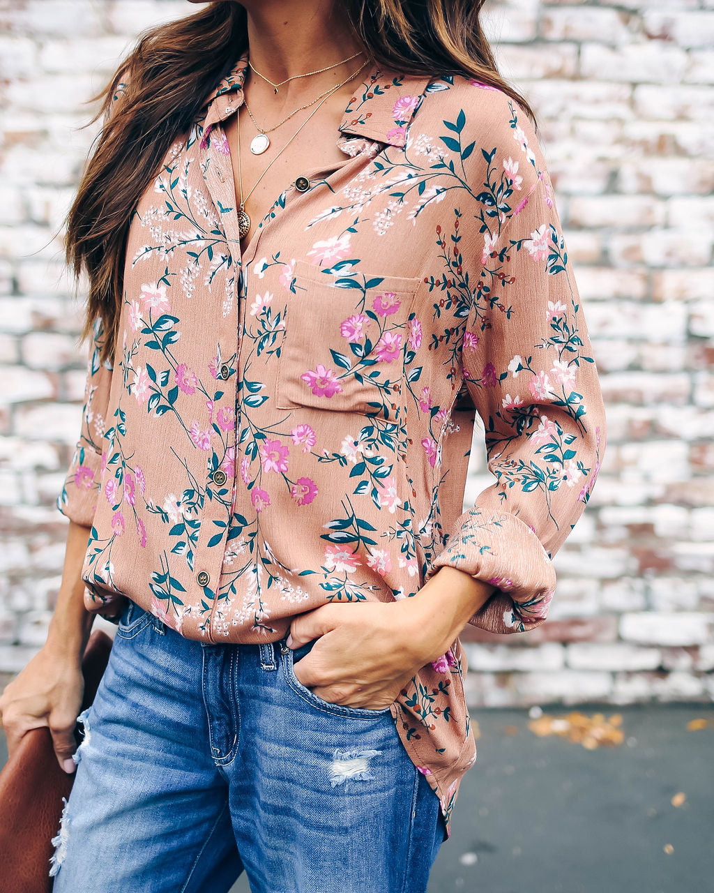 Brought To Life Floral Button Down Blouse