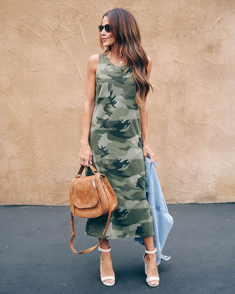 Hutton Cotton Camo Midi Tank Dress