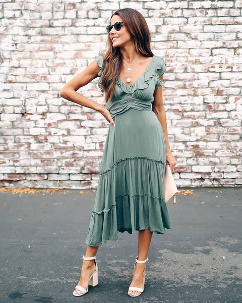 Jump For Joy Ruffle Tiered Midi Dress - Moss Olive - FINAL SALE