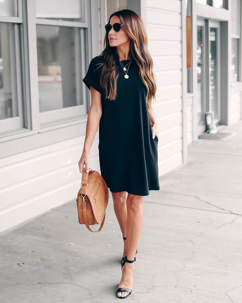 Forever Young Pocketed Shift Dress - Black - FINAL SALE
